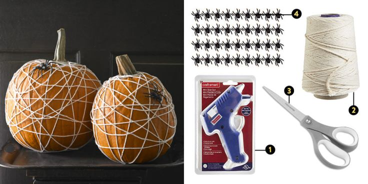 Cobweb-Covered Pumpkin: You don't have to carve into your pumpkins to create a seasonal vibe that's appropriately creepy. This spiderweb squash from Woman's Day is created by hot-gluing regular kitchen twine to the underside of the pumpkin, then wrapping and gluing it until it's just as cobweb-covered as you'd like. Top off the look by attaching a few oversized plastic spiders to the outside of it.