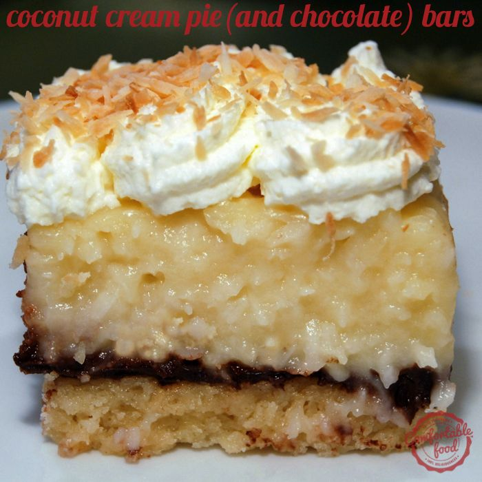 comfortable food - coconut cream pie (and chocolate) bars