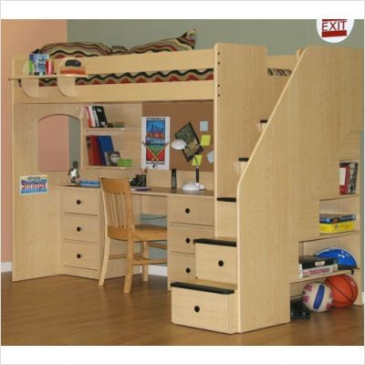 drawers in the stairs leading to loft bed are neat touch - totally not in my price range as is or from this company. Bemrg Utica Twin Dorm Loft Bed $4367.15