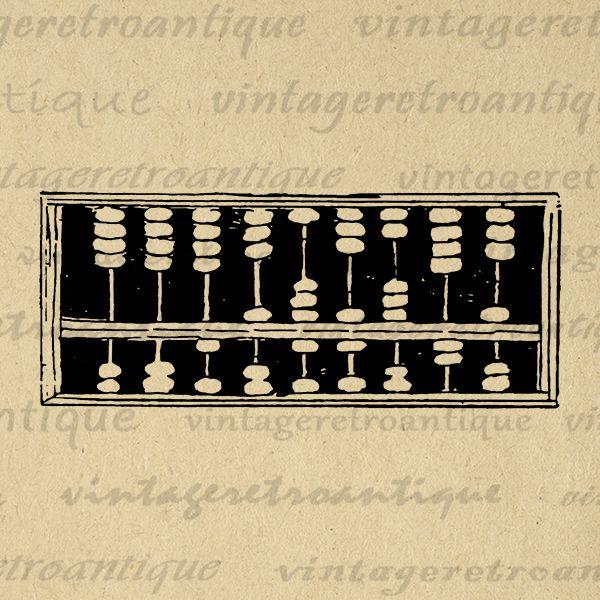 Vintage abacus antique math calculator printable graphic image school education class download digital vintage clip art