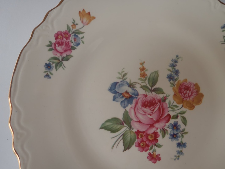 Dinner plate by scio hazel pattern 1940s shabby pink rose for Cuisine rose