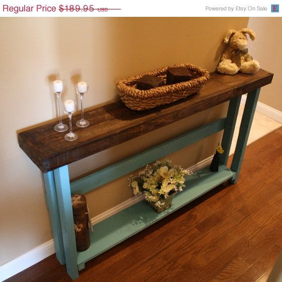 Beautiful dark walnut stained blue painted 8 3 4x60x33h 5 for 5 foot console table