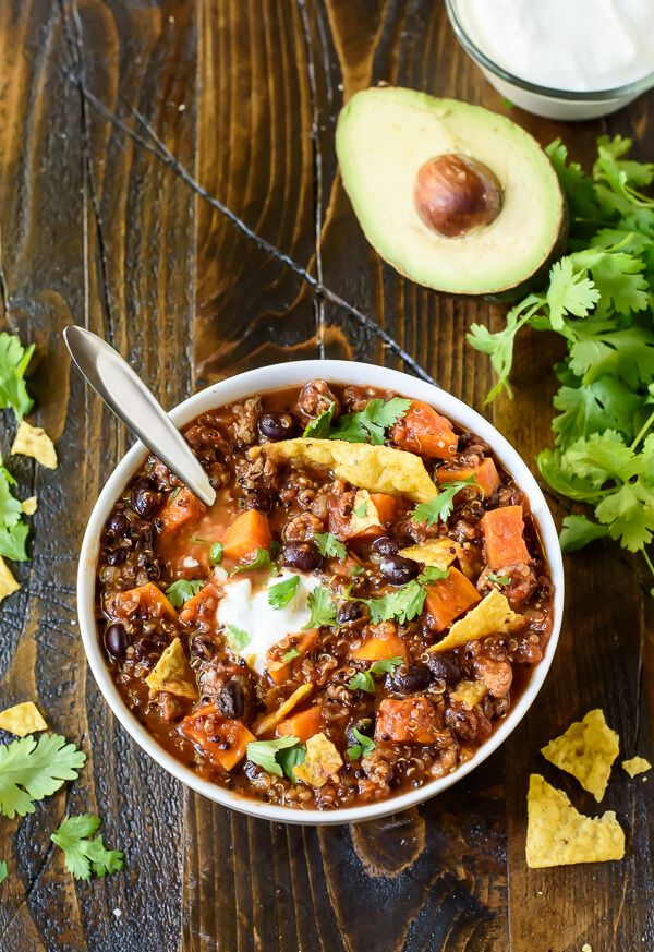 Slow Cooker Turkey Chili with Quinoa and Sweet Potatoes