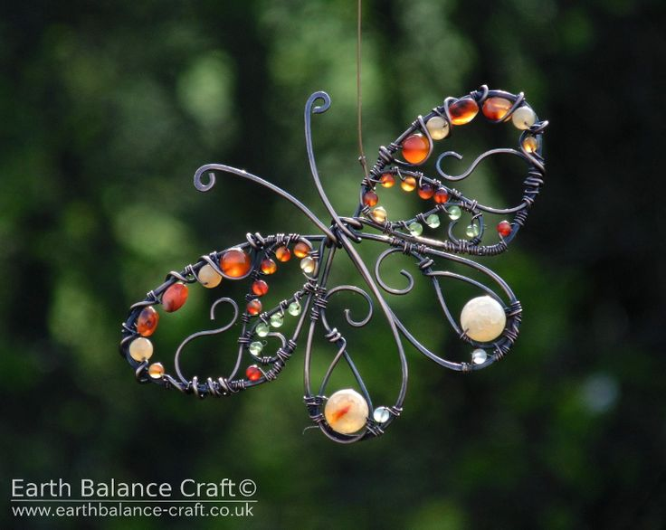 Peacock Butterfly Hanging Ornament - A decorative copper wire butterfly with carnelian, agate, aventurine and peridot gem stone beads.