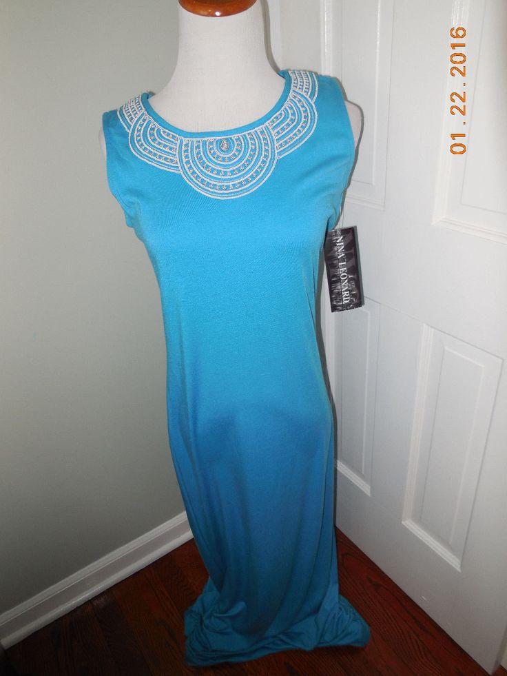 NWT Nina Leonard Womens Teal Maxi Long Dress Size Small