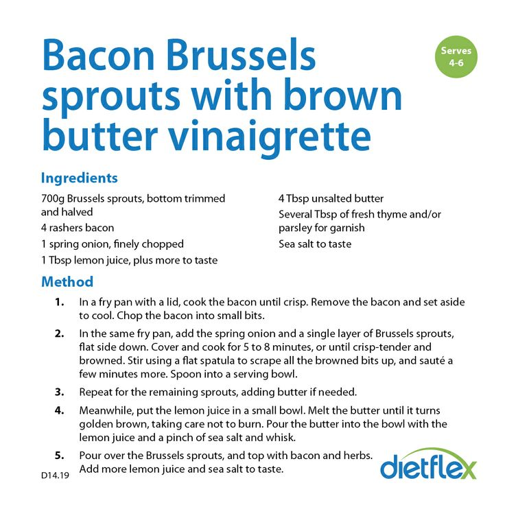 Bacon Brussels sprouts with brown butter vinaigrette #healthyinspirations #dietflex