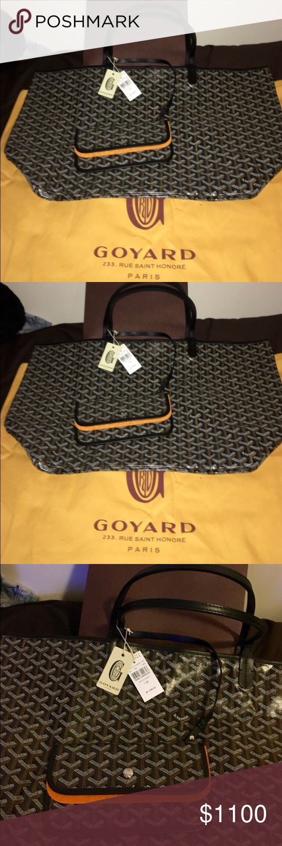 Goyard St. Louis PM - Black Goyard St. Louis PM - Black. NWT. 100% Authentic. Posh concierge authentication included. Purchased @ Barneys. Employee discount is on receipt so for privacy purposes I cannot & will not post it, but bag is brand new & authentic. It's the wrong color, person got the wrong one for me. Use code: FREE for free shipping. Goyard Bags Totes