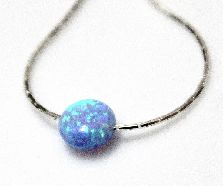 Blue Opal Necklace, Disc necklace, Sterling Silver, Opal Coin Necklace, Tiny Opal Necklace, Ball Necklace, Delicate Opal Necklace by OpalJewelryShop on Etsy