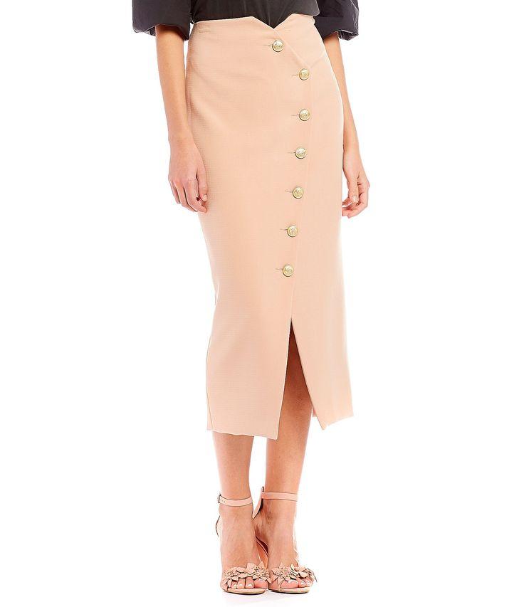 Gianni Bini Shelly Button Front Midi Skirt #Dillards