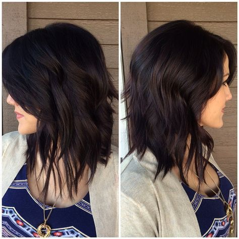 Mahoghany (rich dark violet brown) hair color and hair length.