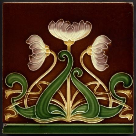 "Collectable Tiles Style/technique: Art Nouveau majolica Manufacturer: Malkin Pattern number: 3183A Dimensions: 6"" x 6""Date: circa 1905"