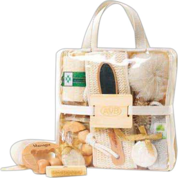 Deluxe Spa Set Blank. This deluxe spa set contains all the accessories needed to pamper and rejuvenate, packaged in an easy to carry tote bag with canvas trim. Includes pumice stone, mesh sponge, wood massager, wood nail brush, wood hair brush, small round facial loofah, body loofah, massage strap and wood file for smoothing rough skin.