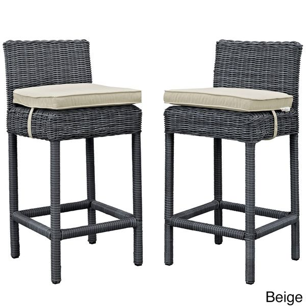 Luxury Outdoor Wicker Bar Stools with Backs
