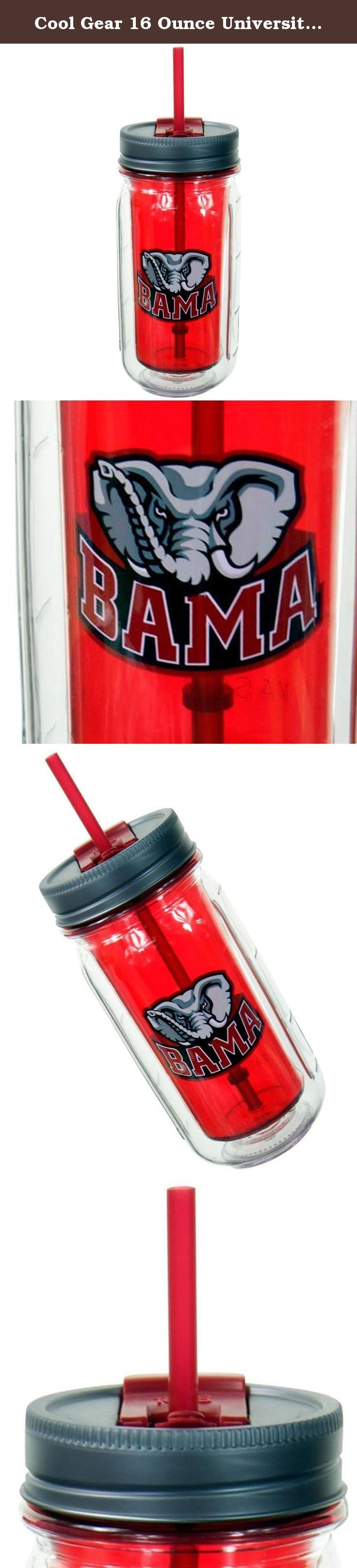 Cool Gear 16 Ounce University of Alabama Crimson Tide Mason Jar (2 Pack). Roll tide! Hit up your party or tailgate with these Cool Gear Alabama Crimson Tide 16-Ounce Mason Jar Water Bottles. They are Nick Saban approved and show off your spirit for your favorite team. These water bottles do the job and never let you go anywhere thirsty. With a 16-ounce capacity, you'll never be dehydrated again. They are great to take to the gym, tailgating, biking on campus, to class, work, or wherever…