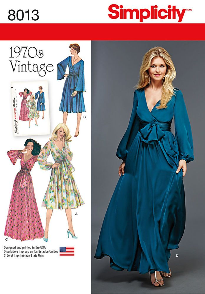 These nostalgic faux wrap front dresses from the 1970's are a must have. Dresses can be made in two lengths, and are lined with either bishop or bell sleeve, and sash. Vintage Simplicity sewing pattern.