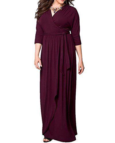 49aae73814c1 Moollyfox Donna Vestito Lungo Vestito da Cocktail Abito da Partito Festa  Maxi Vestito Profondo V Collare