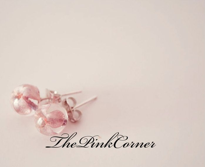 Crystal clear resin stud earrings with small delicate lilac flowers  https://www.facebook.com/media/set/?set=a.801464386550439.1073741840.181333861896831&type=1