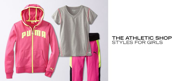 The Athletic Shop: Styles for Girls  Whether she's a future Olympian or just mastering the monkey bars, your active girl needs cool clothes that can keep up. Grab a funky monkey one-piece for swim practice and a comfy hoodie for afterward. Snag stretchy capris for the little yogini and mesh shorts for the soccer star....  http://fancyten.com/the-athletic-shop-styles-for-girls/702 #fancyten