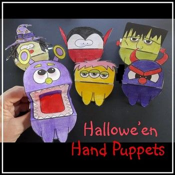A fun, simple crafting activity for Hallowe'en. What is included: - 3 monsters - witch - dracula - Frankenstein Using just 1 piece of paper, students color then cut and fold their Hallowe'en hand puppet ... add the 2 handles and they are ready for fun!