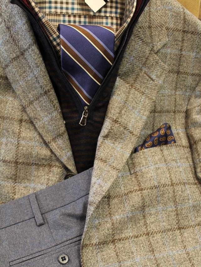 Classic Combo 1  mens Southwick sport coat, Peter Millar shirt, Breuer tie, pocket square, Peter Millar quarter zip and Hertling trousers. Rush Wilson Limited, Greenville SC
