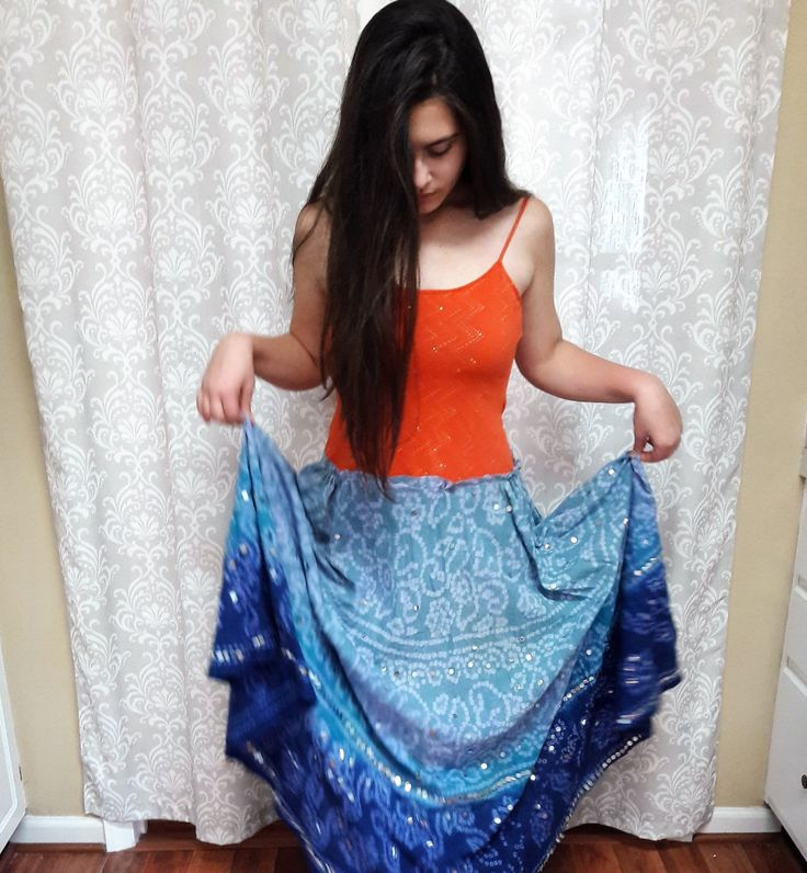 Bright Hippie Festival Dress, Hippie tie dye dress, Colorful Hippie Dress, Upcycled Hippie Dress, Orange and Blue music festival dress by OnceAndFutureApparel on Etsy