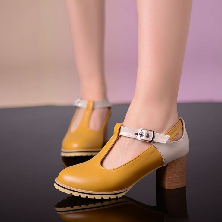 Modo di colore a blocchi Pu cuoio T-strap donne tacchi spessi pompe grande formato 34-43 Tacchi alti Scarpe eleganti tacchi signore ufficio