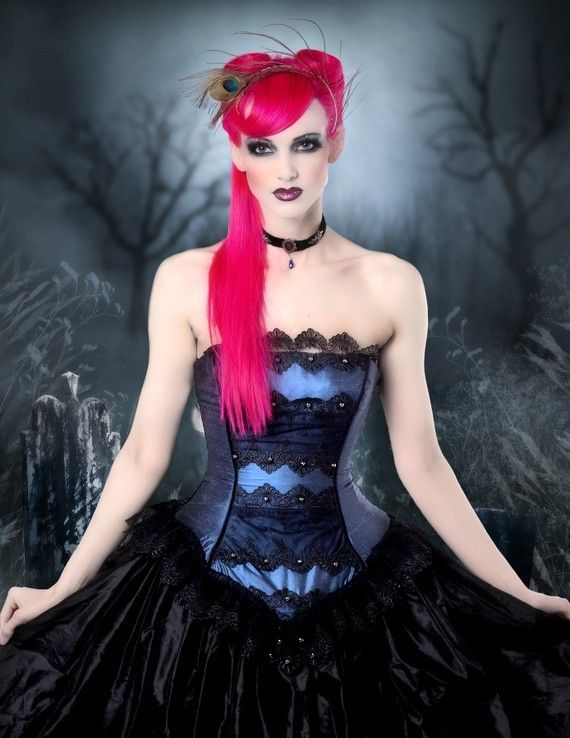 Masquerade Gown Steampunk Wedding Midnight Blue Silk and Black Lace-Custom to your size. $725.00, via Etsy.