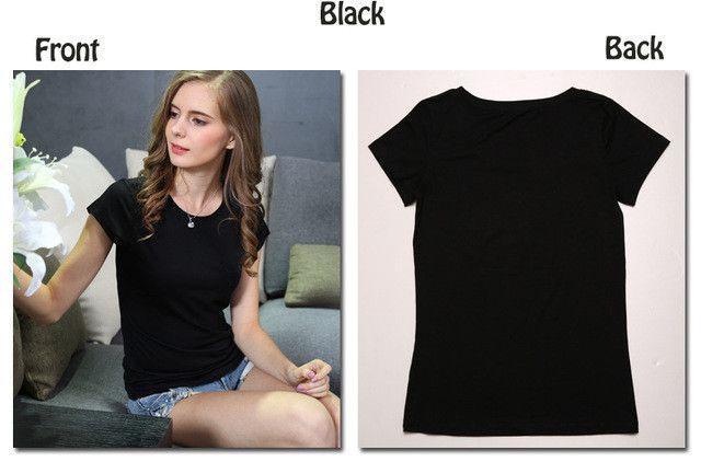 T Shirt Women Cotton Elastic Basic Tshirt Woman Casual Tops Short Sleeve