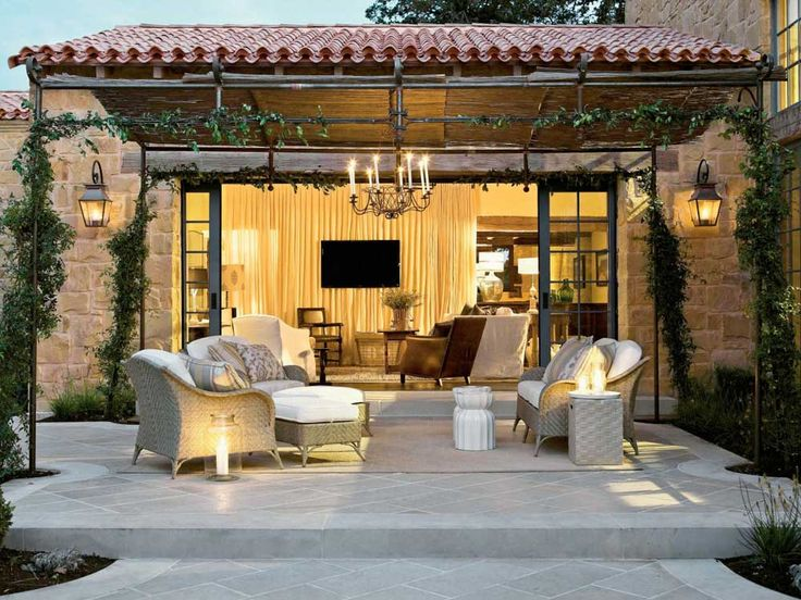 Outdoor Wall Lighting with hanging candle lighting and wall tv