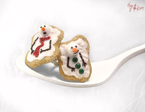 Christmas Melting Snowman Cookie Ring, Festive Dessert Ring, Miniature Food Jewelry