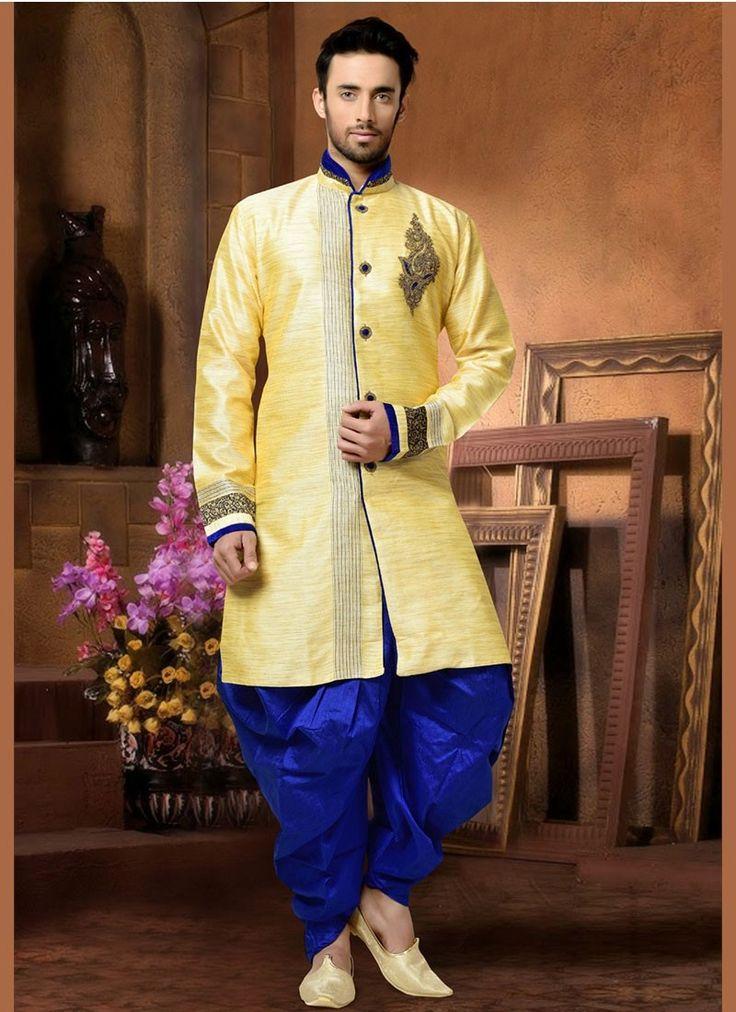 Shop Online Yellow Silk #KurtaPyjama @Chennaistore.com
