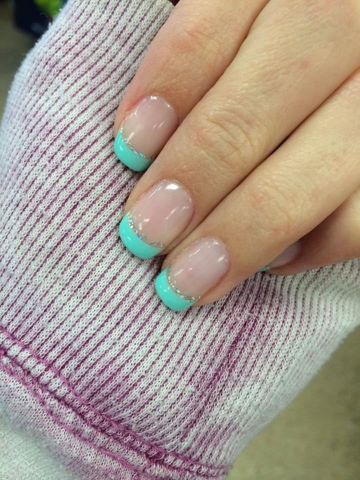 Tiffany blue French tips