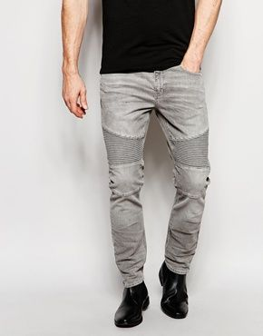 River Island Skinny Fit Jeans With Biker Panel Detail In Grey