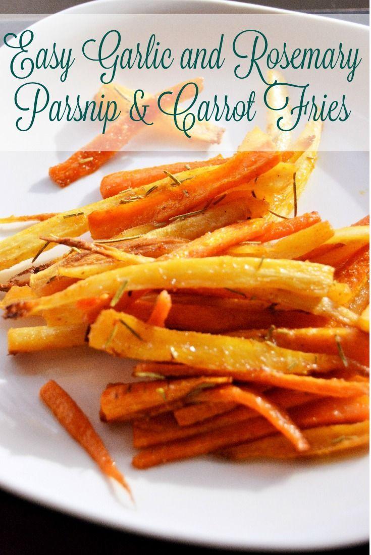 Simple and delicious! These Easy Garlic and Rosemary Parsnip and Carrot Fries are a perfect snack or substitute for classic French fries!