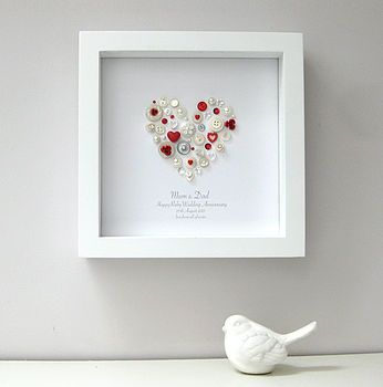 Personalised Ruby Anniversary Heart Artwork