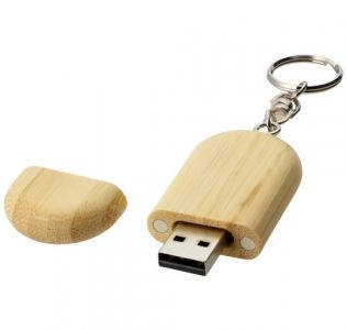 Promotional USB in Oval Wood on a key chain