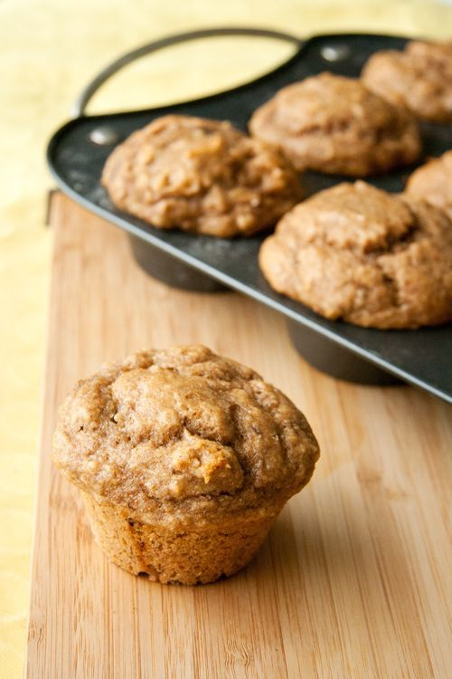 These deliciously healthy whole wheat muffins have all of the goodness of a peanut butter and banana sandwich, but with none of the gooey mess!
