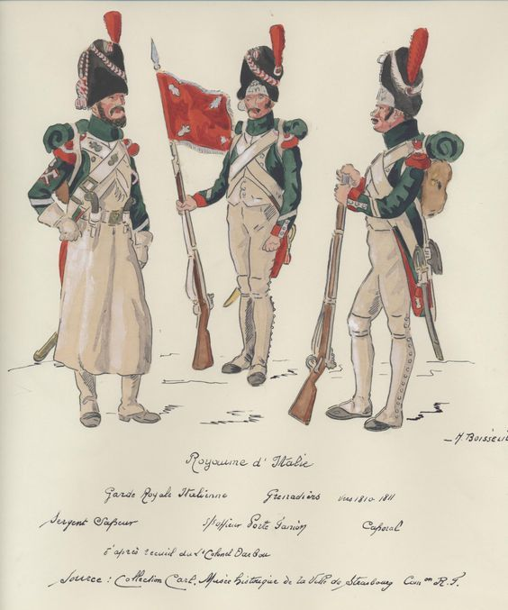 Italy Grenadiers of The Royal Guard. 1810-11. L to R Sergeant Sapper, Sous Officer with Porte Fannion and Corporal: