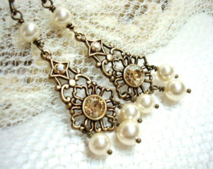 Pendientes de araña de estilo vintage, pendientes de novia, pendientes de boda de oro antiguo, sombra de Swarovski oro, pendientes de cristal de Dama de honor