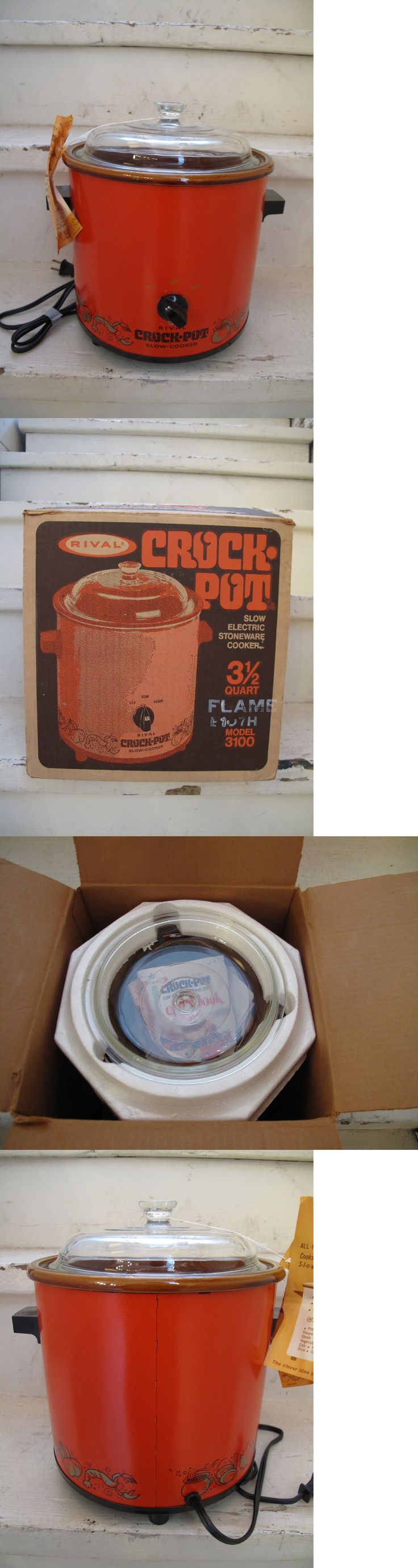 Vintage Small Appliances 116013: Nos Nib Vintage Rival Crock Pot 3100 Flame Orange 3.5 Qt Slow Cooker Glass Lid -> BUY IT NOW ONLY: $34.99 on eBay!