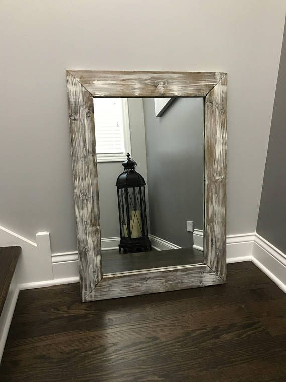 Antique White Wood Framed Mirror All Sizes Include Frame Please Read The Item Details To See The Dimensions Wood Framed Mirror Rustic Wood Frame Mirror Frames