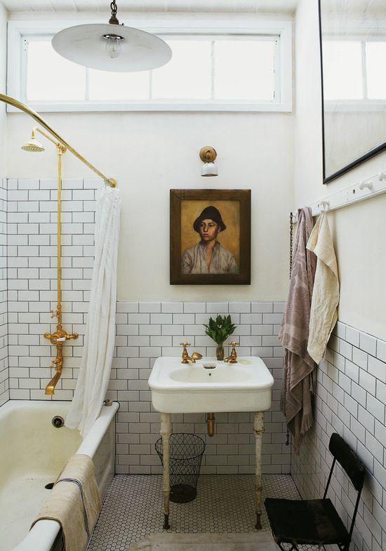 In The Bathroom Of His Manhattan Apartment (photographed By Elle Decor),  John Derian Keeps Costs Down Going The White Tile/black Grout Route.