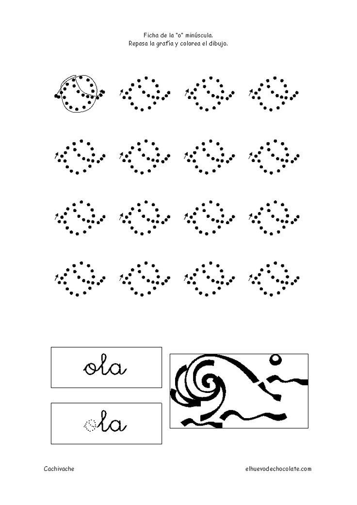 Letra o minúscula. Fichas de letras. Fichas educativas para niños de 3 a 5 años, clasificadas por temas. Cachivache, fichas para niños