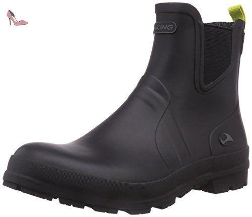 Viking  Bergen, Bottes en caoutchouc non-fourrées, tige basse homme - Noir - Schwarz (Black/Lime 288), Taille 40 EU - Chaussures viking (*Partner-Link)
