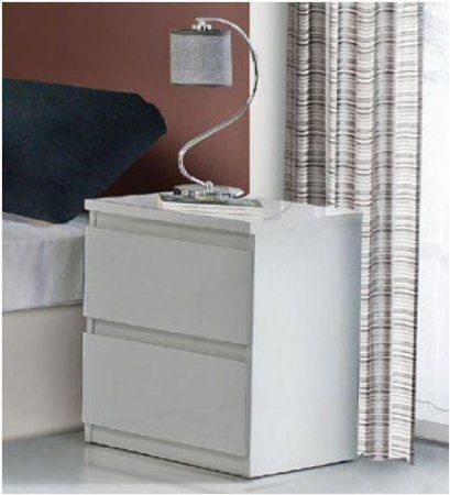 Lucia White Gloss Bedside Table by furniturefactor