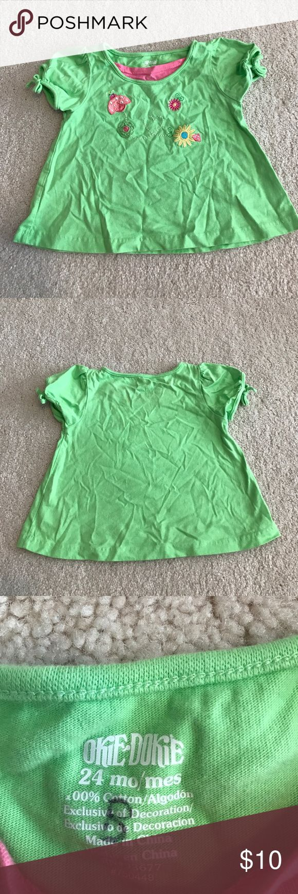 Okie Dokie girls lime green shirt sleeve top 24M Okie Dokie girls lime green top, size 24M. Has lady bug, and some flowers appliqué across chest, super cute! Excellent gently used condition no rips, stains or tears! okie dokie Shirts & Tops Tees - Short Sleeve