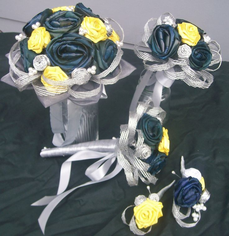 Blue and yellow flax wedding set matching bridesmaid bouquet and buttonholes and corsages