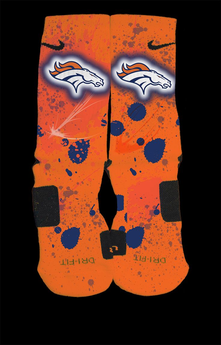 Denver Broncos Inspired Custom Nike Elite Socks  Each pair is custom created when you order. There are minor flaws in each creation -- no two socks are the same.  These are authentic Nike Elite socks for sale. The design on the sock was not created by Nike, but was created and customized by m...