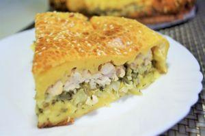 Фото к рецепту: Заливной пирог с курицей и капустой | Очень вкусный!