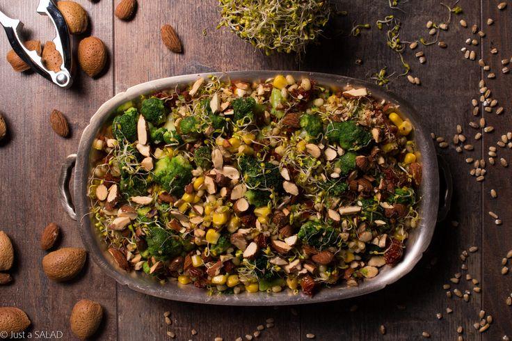 BROKUŁ DOMAGA SIĘ CURRY. Sałatka z pęczakiem, brokułem, kiełkami brokuła, kukurydzą, suszonymi pomidorami, migdałami i curry.